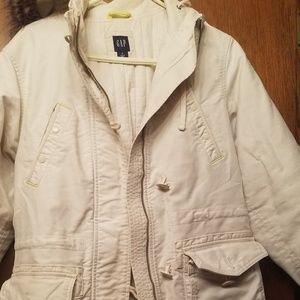 Gap winter Ivory Coat w faux fur hood